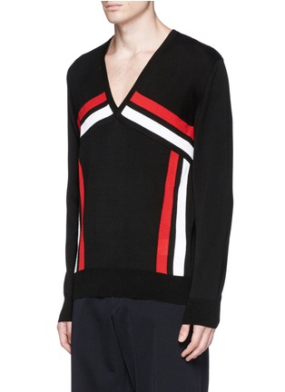 Front View - Click To Enlarge - ALEXANDER MCQUEEN - Stripe intarsia cotton sweater