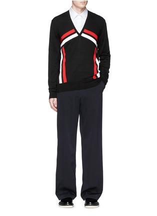 Figure View - Click To Enlarge - ALEXANDER MCQUEEN - Stripe intarsia cotton sweater
