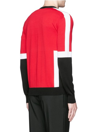 Back View - Click To Enlarge - Alexander McQueen - Colourblock intarsia cotton sweater