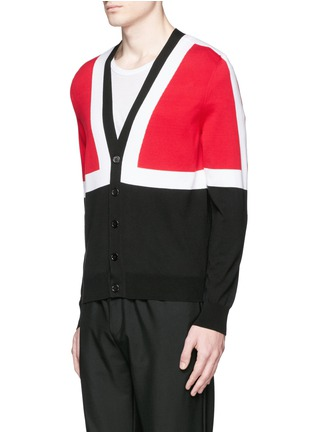 Front View - Click To Enlarge - Alexander McQueen - Colourblock intarsia cotton sweater