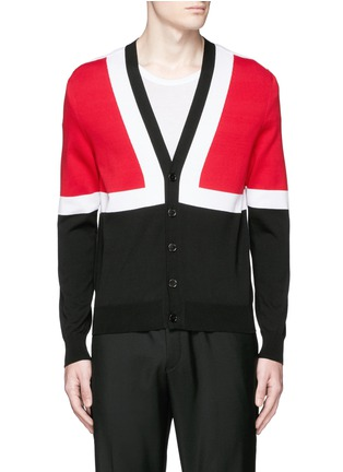 Main View - Click To Enlarge - Alexander McQueen - Colourblock intarsia cotton sweater