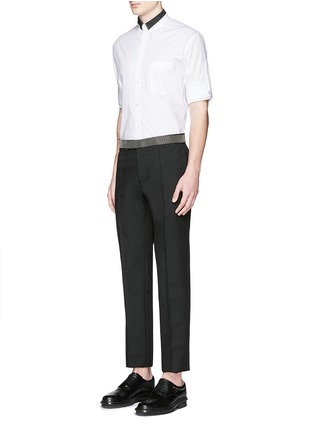 Figure View - Click To Enlarge - Alexander McQueen - Stud waistband wool-Mohair pants