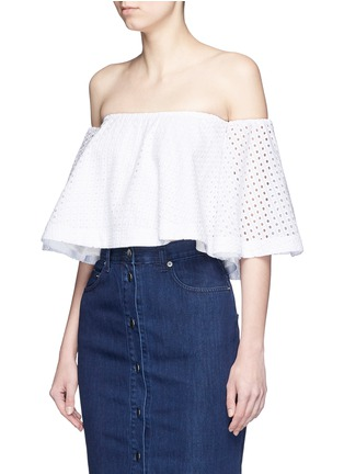 Front View - Click To Enlarge - Nicholas - Broderie anglaise cotton off-shoulder top