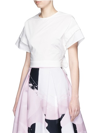 Front View - Click To Enlarge - Nicholas - Sash waist cotton poplin cropped top