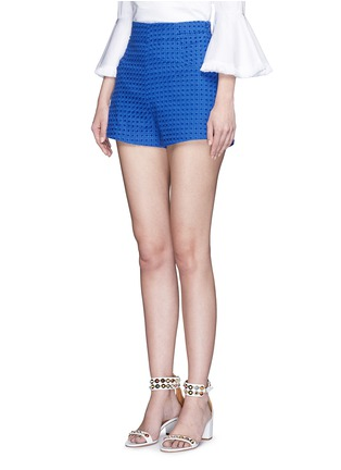 Front View - Click To Enlarge - Nicholas - Tailored broderie anglaise shorts