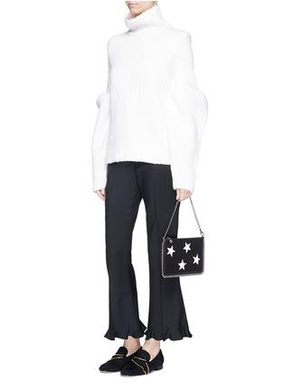 Figure View - Click To Enlarge - Stella McCartney - Contrast star appliqué chain zip purse