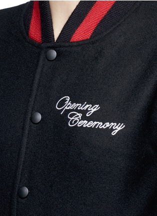 Detail View - Click To Enlarge - OPENING CEREMONY - Floral map embroidered felt varsity jacket