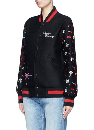 Front View - Click To Enlarge - OPENING CEREMONY - Floral map embroidered felt varsity jacket