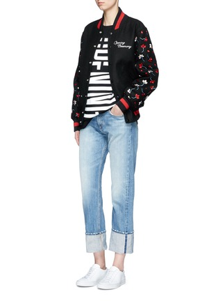 Figure View - Click To Enlarge - OPENING CEREMONY - Floral map embroidered felt varsity jacket