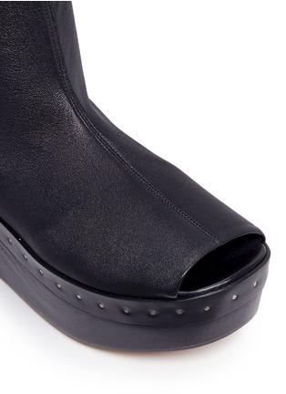 Detail View - Click To Enlarge - Rick Owens - Lambskin leather wooden platform sock sandal booties