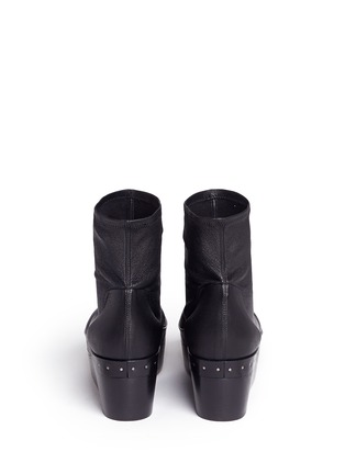 Back View - Click To Enlarge - Rick Owens - Lambskin leather wooden platform sock sandal booties
