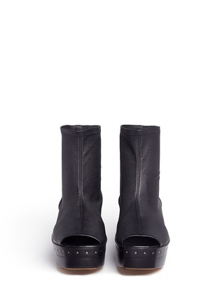 Front View - Click To Enlarge - Rick Owens - Lambskin leather wooden platform sock sandal booties