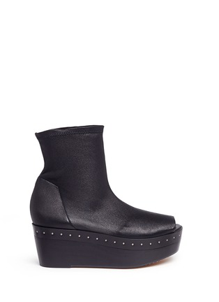 Main View - Click To Enlarge - Rick Owens - Lambskin leather wooden platform sock sandal booties