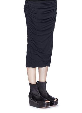Figure View - Click To Enlarge - Rick Owens - Lambskin leather wooden platform sock sandal booties