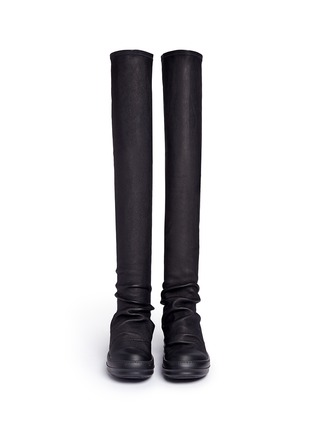 Front View - Click To Enlarge - Rick Owens - Lambskin leather high sock sneakers