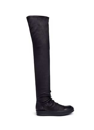 Main View - Click To Enlarge - Rick Owens - Lambskin leather high sock sneakers