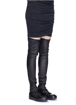 Figure View - Click To Enlarge - Rick Owens - Lambskin leather high sock sneakers