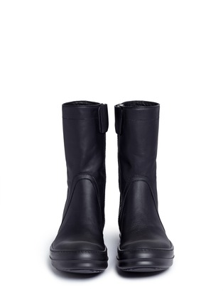 Front View - Click To Enlarge - Rick Owens - Zip leather sneaker boots