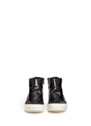 Front View - Click To Enlarge - Rick Owens - 'Island Dunk' leather laceless mid top sneakers