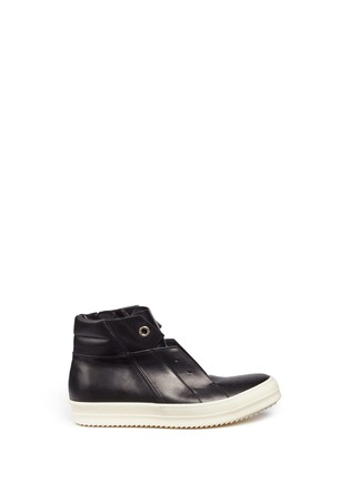 Main View - Click To Enlarge - Rick Owens - 'Island Dunk' leather laceless mid top sneakers