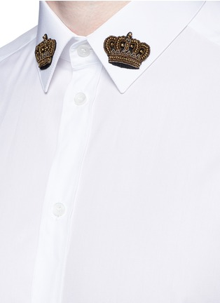 Detail View - Click To Enlarge - Dolce & Gabbana - 'Gold' slim fit crown embroidery patch shirt