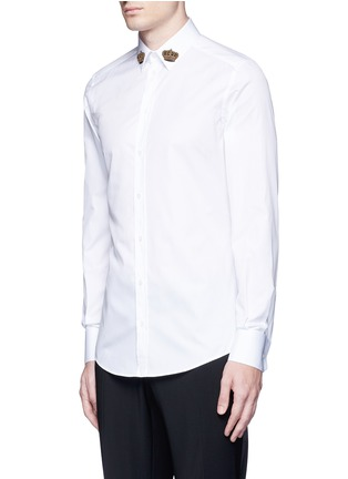 Front View - Click To Enlarge - Dolce & Gabbana - 'Gold' slim fit crown embroidery patch shirt