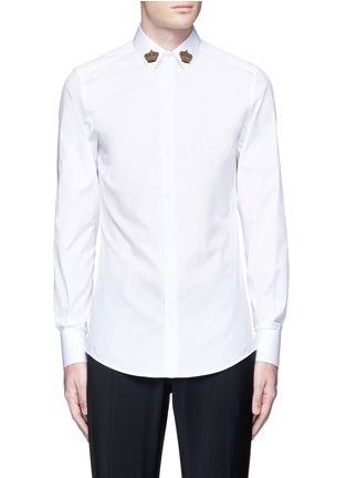 Main View - Click To Enlarge - Dolce & Gabbana - 'Gold' slim fit crown embroidery patch shirt