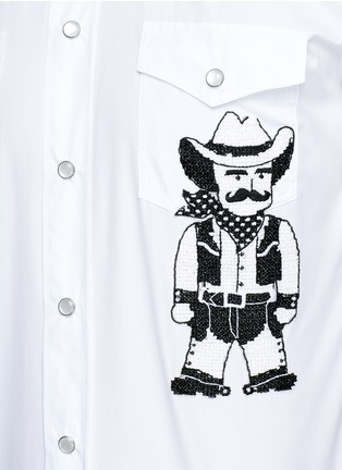 Detail View - Click To Enlarge - Dolce & Gabbana - Slim fit Sicilian cowboy embroidery cotton shirt