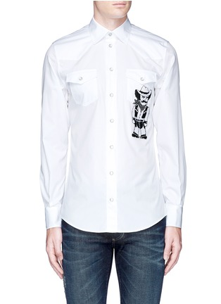 Main View - Click To Enlarge - Dolce & Gabbana - Slim fit Sicilian cowboy embroidery cotton shirt
