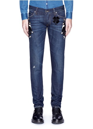 Detail View - Click To Enlarge - - - 'Gold 10' slim fit cat embellished jeans