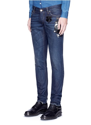 Front View - Click To Enlarge - - - 'Gold 10' slim fit cat embellished jeans