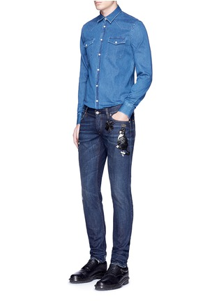 Figure View - Click To Enlarge - - - 'Gold 10' slim fit cat embellished jeans