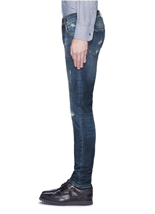 Detail View - Click To Enlarge - - - 'Stretch 14' slim fit medium wash distressed jeans