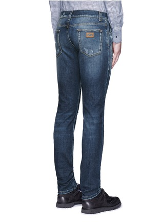 Back View - Click To Enlarge - - - 'Stretch 14' slim fit medium wash distressed jeans