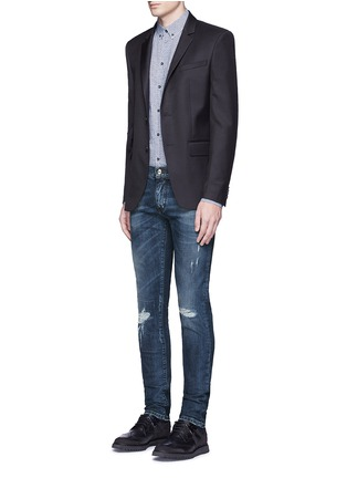 Figure View - Click To Enlarge - - - 'Stretch 14' slim fit medium wash distressed jeans