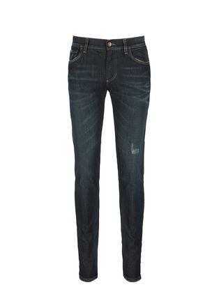 Main View - Click To Enlarge - - - 'Stretch 14' slim fit dark wash distressed jeans