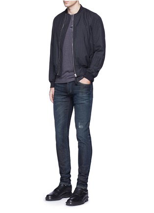 Figure View - Click To Enlarge - - - 'Stretch 14' slim fit dark wash distressed jeans