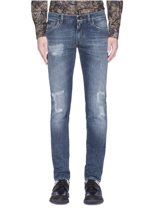 Detail View - Click To Enlarge - - - 'Stretch 14' slim fit medium wash embroidered jeans