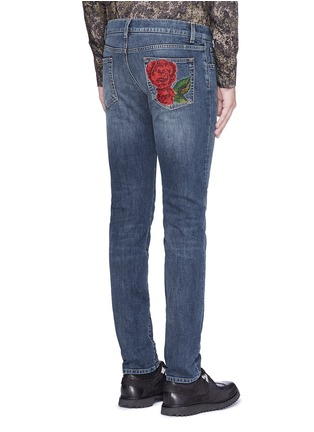 Back View - Click To Enlarge - - - 'Stretch 14' slim fit medium wash embroidered jeans