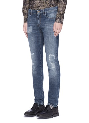 Front View - Click To Enlarge - - - 'Stretch 14' slim fit medium wash embroidered jeans