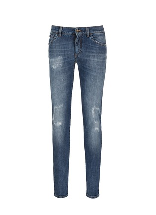 Main View - Click To Enlarge - Dolce & Gabbana - 'Stretch 14' slim fit medium wash embroidered jeans