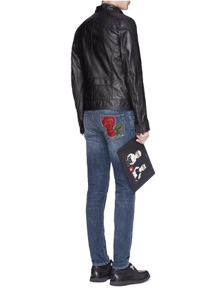 Figure View - Click To Enlarge - - - 'Stretch 14' slim fit medium wash embroidered jeans