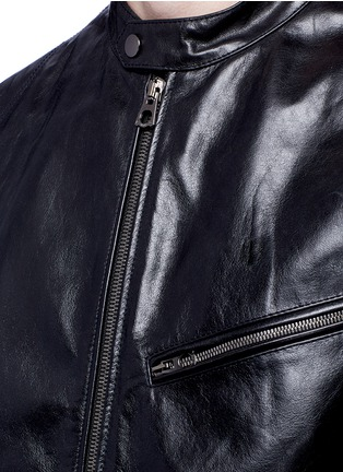 Detail View - Click To Enlarge - Dolce & Gabbana - Leather front bomber jacket