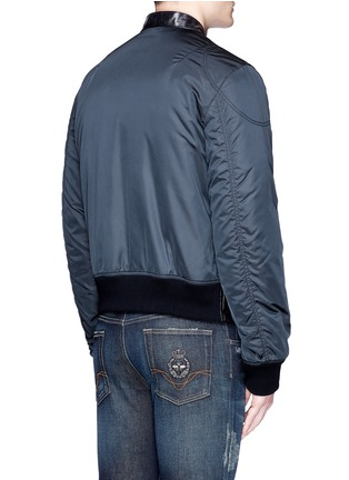 Back View - Click To Enlarge - - - Leather front bomber jacket