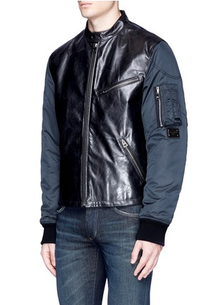 Front View - Click To Enlarge - - - Leather front bomber jacket