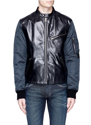 Main View - Click To Enlarge - - - Leather front bomber jacket