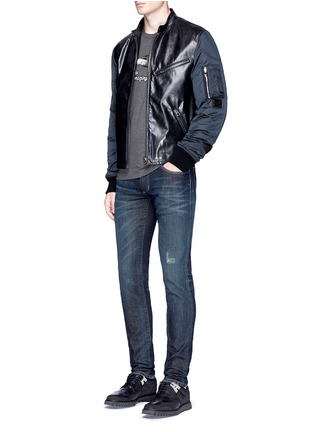 Figure View - Click To Enlarge - - - Leather front bomber jacket