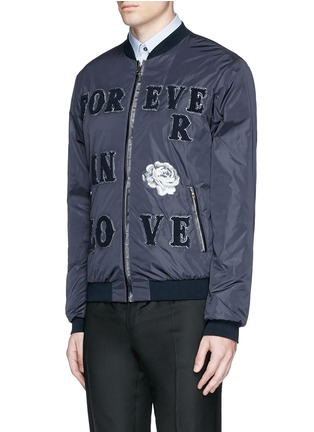 Front View - Click To Enlarge - - - 'LOVE' patch appliqué bomber jacket
