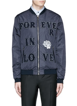 Main View - Click To Enlarge - - - 'LOVE' patch appliqué bomber jacket