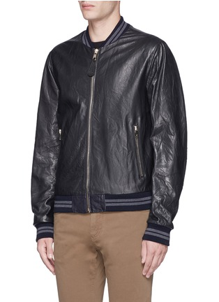 Front View - Click To Enlarge - Dolce & Gabbana - Leather baseball jacket
